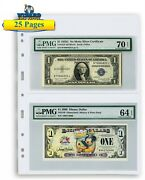25 Lighthouse Grande 2 Pocket Pages For Graded Currency Bill / Fdc Hold Pmg Pcgs