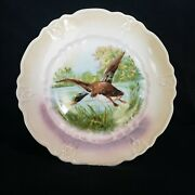 Vintage Opalescent Decorative Plate Flying Mallard Duck Man Cave Nature Hunting