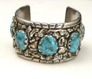 Vintage Huge 5 Stone Chrysocolla Turquoise Nugget Silver Cuff Bracelet Signed Ce