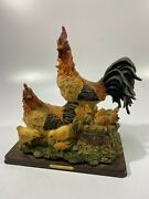 Premier Collection Rooster Chicken Family Resin 11 X 11