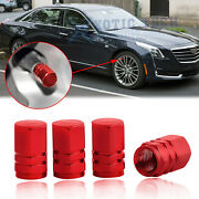 4x Red Wheel Valve Stems Caps Air Port Dust Covers For Cadillac Escalade Cts Xts