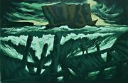Rick Amor The Rock And The Sea - Large Collectible Landscape, Signed Screenprint