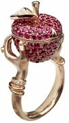 925 Natural Rosecut Diamond Ruby Apple Hand Pick Engagement Ring Band Jewelry