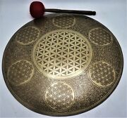 22 Inch And039flower Of Lifeand039 Carved Gong Bell - Handmade In Nepal - Meditation