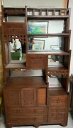 Exquisite Antique Curio Cabinet W/dovetail Drawers Mirrors Ornately Carved Doors