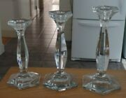 Heisey Patrician 7.5 8.5 9 Candlesticks In Crystal - Set Of 3