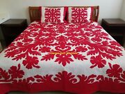 Hawaiian Quilt Bedspread 2 Shams 100 Hand Quilted/hand Appliquandeacuted Red Hibiscus