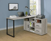 Rustic Industrial Space Saver Rotating L-shape Home Office Desk, Grey Driftwood