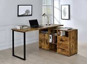 Rustic Industrial Space Saver Rotating L-shape Home Office Desk, Antique Nutmeg