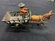 Vintage Cast Iron Donkey And Goat Wagon With Driver Toy 10 X 5