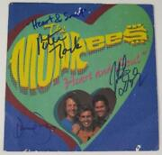 The Monkees Signed Autograph Heart And Soul 45 Rpm Single Record X3 Davy Jones