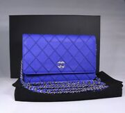 14s Cobalt Blue Calfskin Leather Wallet On Chain Woc Silver Shw