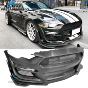 Fits 18-21 Ford Mustang Gt500 Style Front Bumper Conversion W/ Grille