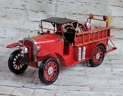 Antique Reproduction So Prairie Fire Dept. Red Metal Fire Truck Home Decor Deal