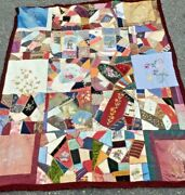 1800s Embroidered Victorian Velvet Crazy Quilt 45 X 54 Inches