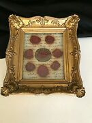 Small Antique Gold Framed Document Fragment With Seals