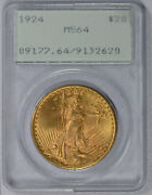 1924 20 Ms 64 Rattler Pcgs Ogh Gold Double Eagle Saint Gaudens Coin Free Ship