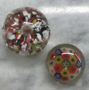 Lot Of 2 Paperweights Zimmerman Corydon, In And Millefiori Art Glass Multi Color