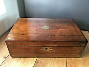 Antique 19th C Rosewood And Brass Inlaid Star Campaign Secret Drawer Writing Slope