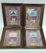 4 Us Stamp Coin Framed Set American Indian, Trailblazers, Pioneers, Forty Niners
