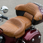 Indian Motorcycle Tan Studded Heated Extended Reach Seat 2016-2021 Springfield