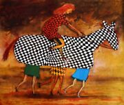 Pro Hart Folly Horse - Signed Modern Etching Collectible Racing Comes With Lop
