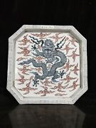 China Antique Ming Dynasty Blue And White Glazed Red Dragon Pattern Tea Tray