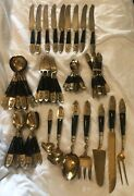 Vintage Thailand Siam Brass And Bakelite Flatware Lot Of 76-pieces With Serving