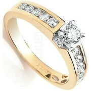Certificated Diamond Solitaire Ring 18 Carat Yellow Gold 0.50ctw Large Sizes R-z