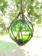 1950and039s Japanese Net Fishing Ball - Large 13andrdquo Glass Buoy Float Ball