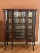 Louis Iv French Serpentine Curio China Cabinet Cabriole Leg Curved Glass Antique