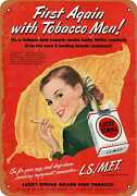 Metal Sign - 1953 Lucky Strike First With Tobacco Men -- Vintage Look
