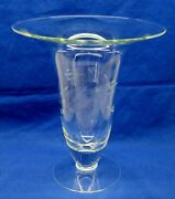 Princess House 10.25 Heritage Hand Blown Crystal Flared Vase W/ Etched Flowers