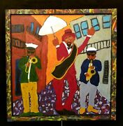 John Sperry Southern New Orleans Jazz Musicians Folk Art Painting The Send Off