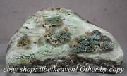 11.6 China Natural Dushan Jade Carved Pine Old Man Boat Mountain Water Statue