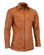Menand039s Soft Tan Leather Slim Fit Full Sleeve Button Up