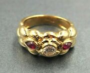 Womens Mens 18k Yellow Gold Diamond And Ruby Ring Band Fine Vintage Jewellery
