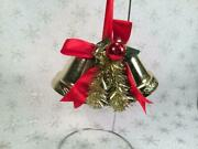 Vintage Large Gold Bells Christmas Decorations 3 Tall 7 Across Plastic