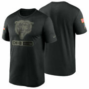 Chicago Bears Nike Menand039s 2020 Nfl Salute To Service Sideline Legend T-shirt New