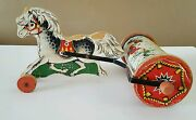 Vintage Fisher Price Pony Chime Mid Century Pull Toy Multicolor Wood And Metal