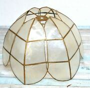 Vtg 20's-30's Mother Of Pearl Solid Brass Handmade Scalloped Lamps Light Shade