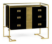 Gilded Iron Chest Of Drawers In Smoky Black By Jonathan Charles