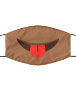 Red Tongue Out Face Mask Emoji Funny Brown Face Cloth Covering