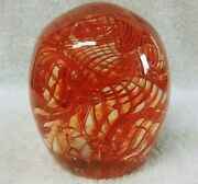 Magnum Signed 98 Orange Clear Feathery Wisps Bubbles Large Glass Paperweight