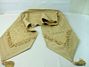 Traditional Table Top Runner Tan Beige Sage Color Tassels Floral Scroll 13x72