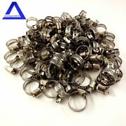 100pcs 1/2-3/4 Adjustable Stainless Steel Drive Hose Clamps Fuel Line Worm