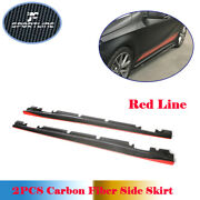 2pcs Carbon Side Skirts For Benz A200 A45 Amg Cla 250 Cla45 Amg 13-18 Red Line