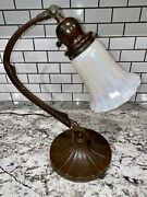 Antique Arts And Crafts Art Nouveau Signed Handel Piano Table Lamp Quezal Shade