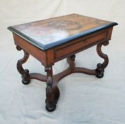 Antique Aesthetic Movement Marquetry Top Entry Table/writing Desk