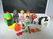 Playmobil Figures, Motorbike, Cow, Old Fashioned Lady And Man, Gabriella, Police